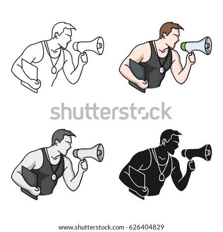 Personal trainer icon in cartoon style isolated on white background. Sport and fitness symbol stock vector illustration.