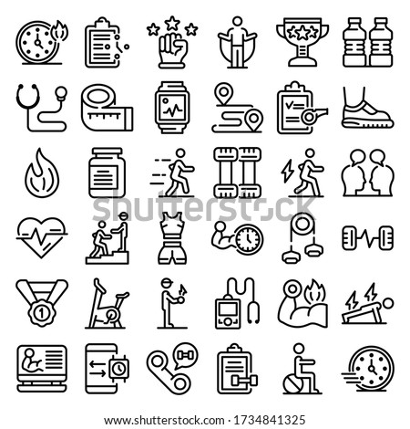 Personal trainer icons set. Outline set of personal trainer vector icons for web design isolated on white background Stock fotó ©