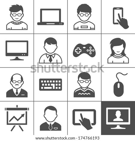 Personal user devices and users. Vector illustration. Simplus series