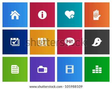 Personal website and portfolio icons series in Metro style