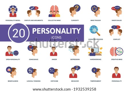Personality icon set. Contains editable icons personality theme such as dispute and arguments, curiosity, inner dialog and more. Foto stock ©