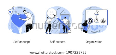 Personality trait abstract concept vector illustration set. Self-concept, self-esteem and organization, confidence, personal value, organize daily life, training personal skills abstract metaphor.