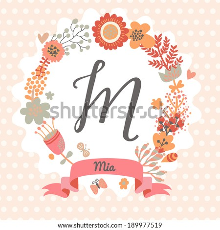personalized monogram in vintage colors stylish letter m can be used as greeting card