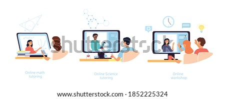 Personalized online learning concept. Video lessons, home schooling, modern educational platform science tutoring. Set of flat cartoon vector illustration. Foto stock ©