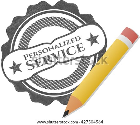 Personalized Service emblem with pencil effect
