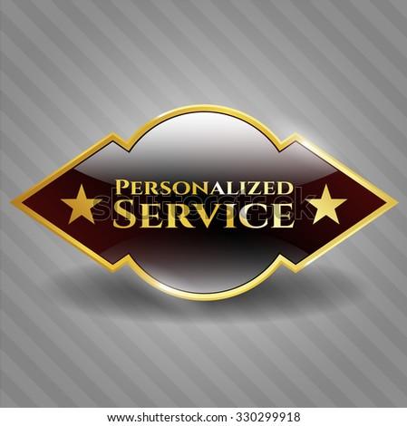 Personalized Service gold shiny emblem