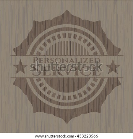 Personalized Service wooden emblem. Retro
