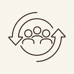Personnel change line icon. People in round cycle symbol. Human resource concept. Vector illustration can be used for topics like rotation, HR, personnel, management