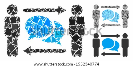 Persons exchange messages composition of tremulant items in various sizes and color tints, based on persons exchange messages icon. Vector tuberous parts are grouped into collage.