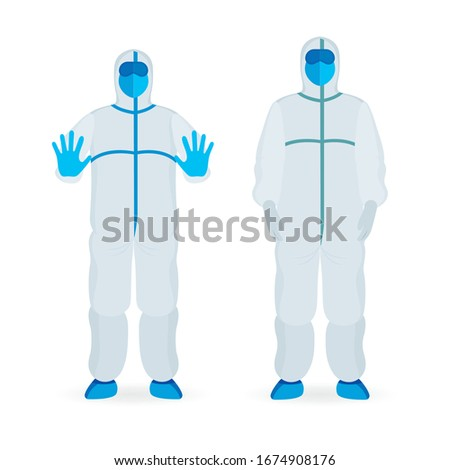 Persons in viral protective suits. Specialists in bio and viral hazard protective suits vector illustrations set. Virus attention, protection and disinfection concept.