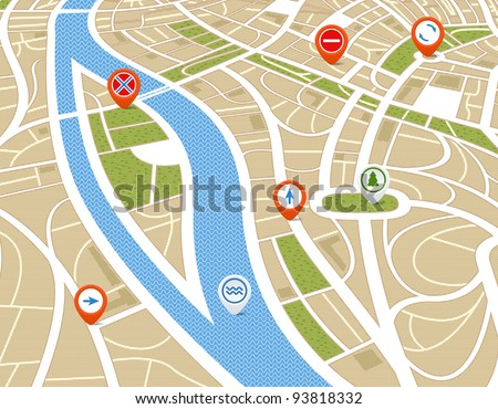 Perspective background of abstract city map with symbols