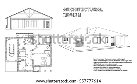 Perspective 3D, floor plan and cross section suburban house. Drawing of the modern building. Cottage project on white background. Vector blueprint.