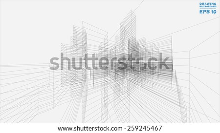 Corinthian architectural blueprint sketch vector download free perspective 3d render of building wireframe vector blueprint background malvernweather Image collections