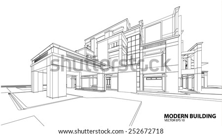 perspective 3d render of building wireframe vector illustration