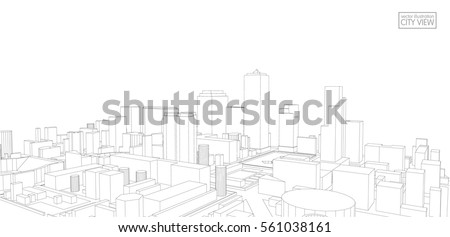 perspective 3d wireframe of