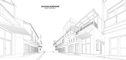 Perspective 3d Wireframe of building. vector
