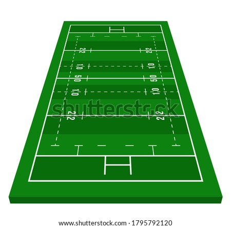 Perspective green rugby field. View from front. Rugby field with line template. Vector illustration stadium.