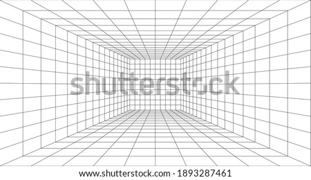 Perspective grid background 3d Vector illustration. Interior design Model projection background template. Line one point perspective