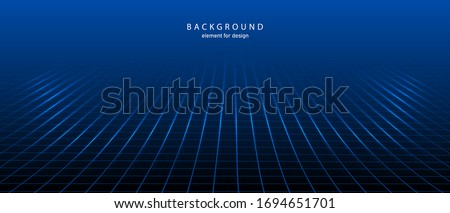 Perspective grid with depth of field effect. Abstract wireframe landscape. Detailed lines on background. Wide blueprint texture. Vector. Stock photo ©