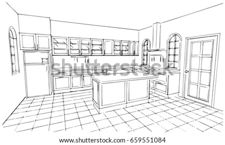 Royalty Free Outline Sketch Drawing Perspective Of A 448532368