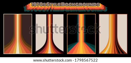 Perspective Lines Background Set 1970s Style, Vintage Colors and Shapes for Posters, Banners, Covers