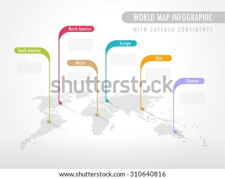 World map infographic download free vector art stock graphics perspective pixelated world map with labels pointing each continent gumiabroncs Images