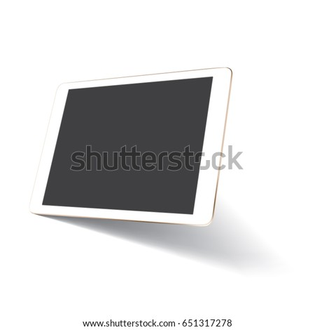 Perspective tablet mockup with blank screen
