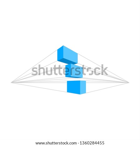 perspective vector design . perspective box template . perspective logo