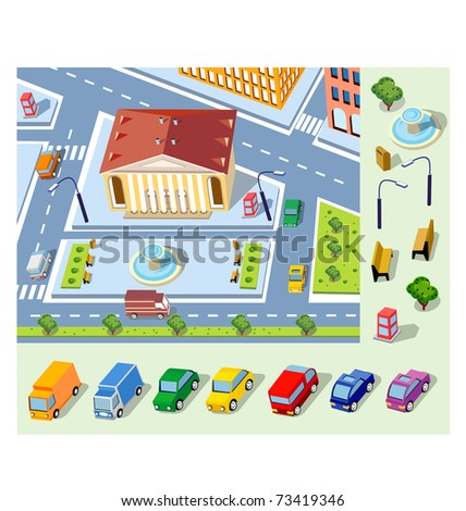 Perspective view of the urban district of the city with buildings and vehicles