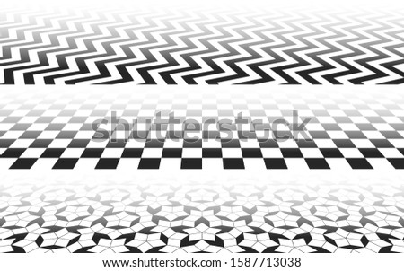 Perspectives with checkered, zig-zag and Penrose mosaic patterns, perspective distorted surface with black and white tiles, abstract background vector illustration set for minimal designs