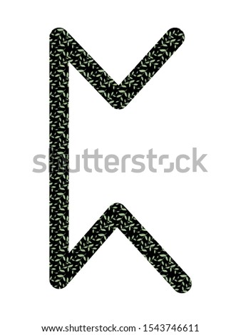 Perth. Ancient Scandinavian runes Futhark. Used in magical scripts, amulets, fortune telling. Scandinavian and Germanic writing. White background