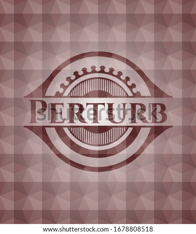 Perturb red emblem with geometric pattern background. Seamless. Photo stock ©