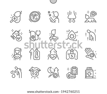 Pertussis. Lung infection. Whooping, cough, asthma, sick, virus, respiratory. Health care, medical and medicine. Pixel Perfect Vector Thin Line Icons. Simple Minimal Pictogram Stock photo ©