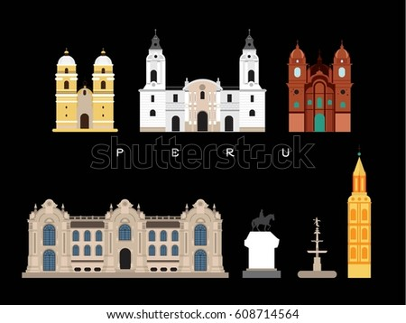 Peru Famous Landmarks Infographic Templates for Traveling Minimal Style and Icon, Symbol Set Vector Illustration Can be use for Poster Travel book, Postcard, Billboard.