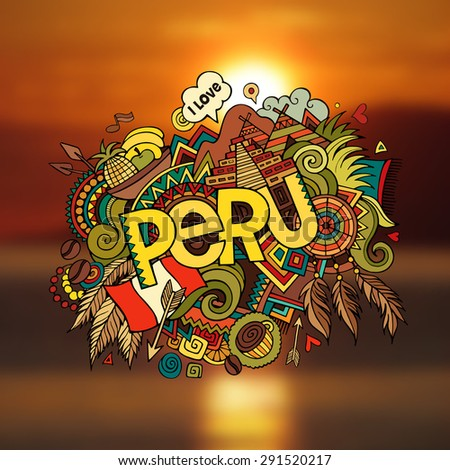 peru hand lettering and doodles