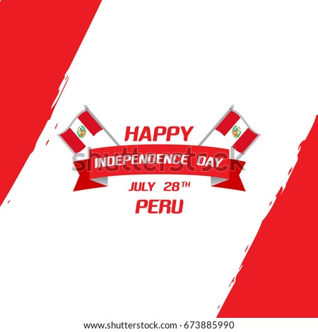 Peru Independence day celebration greeting card. Celebrated on 28th July. Creative concept vector illustration with flag and design elements for banners, backgrounds and print needs.