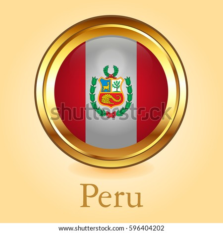 peru's flag with gold round