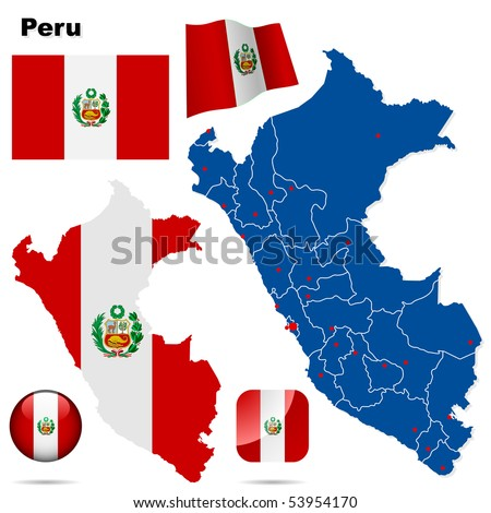 Peru vector set. Detailed country shape with region borders, flags and icons isolated on white background.