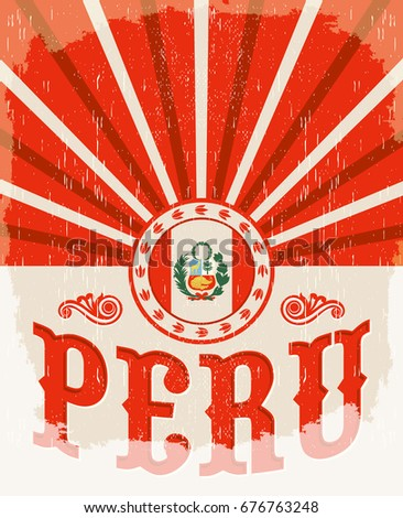 peru vintage old poster with