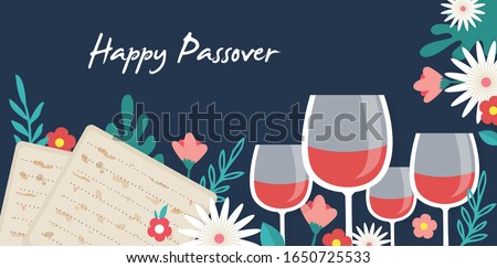 Pesah celebration concept , Jewish Passover holiday. Greeting cards with traditional four wine glasses, Matzah and spring flowers. Happy Passover in Hebrew. vector illustration