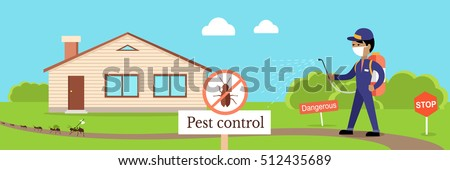 Pest control banner. Service employee pest control man in uniform with balloons and sprays. Banner for web page or website. Sign of a red circle with an insect. Vector illustration