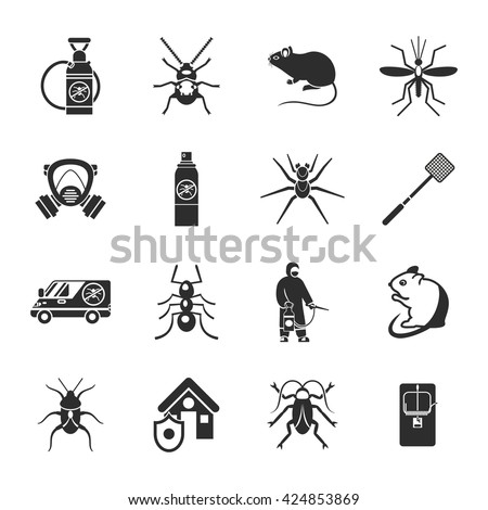 pest control black white icons