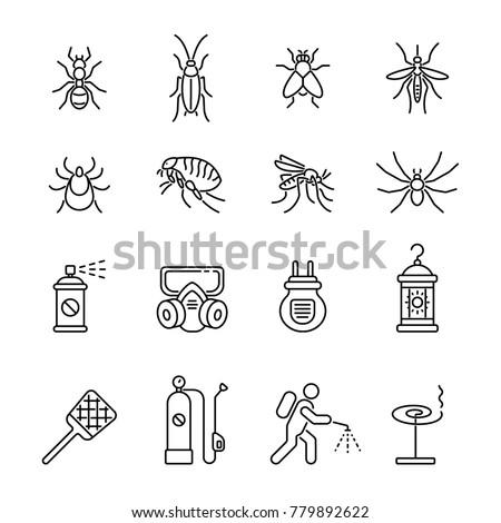 Pest control, extermination: thin vector icon set, black and white kit Foto d'archivio ©