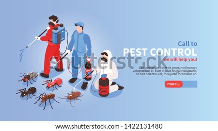 Pest control house hygiene disinfection service isometric website banner with professional team exterminating insects background vector illustration   Foto d'archivio ©