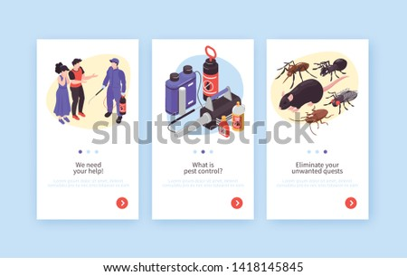 Pest control hygiene disinfection service isometric vertical banners set with rats insects specialists clients equipment vector illustration