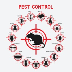 Pest Control icons set on red target