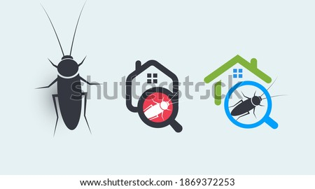 Pest control service logo concept set. House protection from insects symbols. Getting rid of home parasites vector graphic Foto stock ©