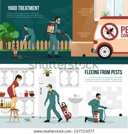 Pest control services technology concept 2 flat horizontal banners with professional yard and interior treatment isolated vector illustration