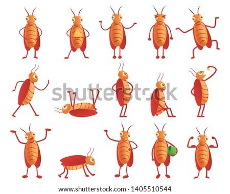 Pests cockroach vector icons set. Cartoon set of pests cockroach vector icons for web design Foto stock ©