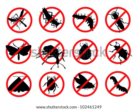Pests vector silhouettes isolated. Insect repellent emblem